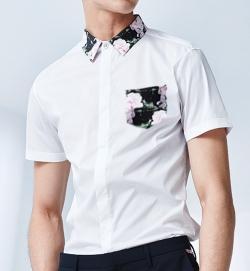 2016夏季新款男衬衫 短袖 印花