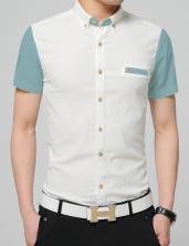 2016夏季新款男衬衫 短袖 拼色